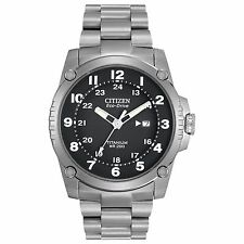 Citizen Eco-Drive Men's BJ8070-51E Super Titanium Bracelet Black Dial 43mm Watch
