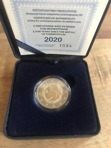 RARE TOP PRIX 2 Euro CC BE Grèce 2020 Belle Epreuve proof Bataille de Thermopyle