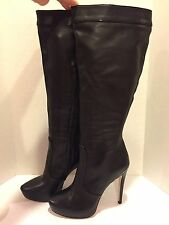 BCBG Max Azria Pomchi  Knee High Tall Boots Leather Wide Calf Heel Black 8.5 B