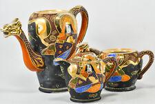Antique Dragonware Creamer Sugar Teapot Set - Orange & Black