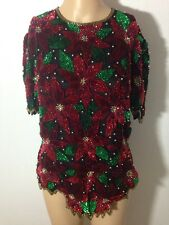 Vtg Laurence Kazar Not Ugly Christmas Beaded Sequin Poinsettia Blouse Silk Sz M