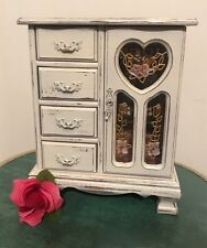 Vintage upcycled wood jewelry box shabby Country chic White Distressed