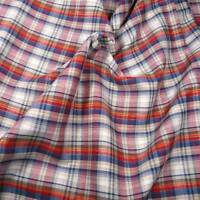 Vintage Reversible Plaid Woven, Metallic Gold Red Blue Cotton Fabric Per 1/2 Yd