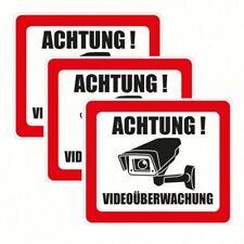 ACHTUNG! Videoüberwachung Aufkleber, Hinweisschild Warnaufkleber Kamera 3er-Pack