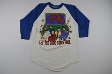 Vintage 70s THE CARS Mens Large Rock N Roll Concert Tour Raglan Shirt White Blue