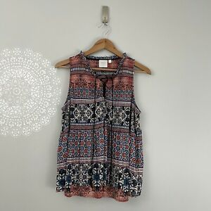 Anthropologie HD in Paris Floral Patchwork Lace Up Tank Top Women's Size Small