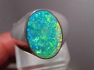 Large Natural Australian Opal Mens Ring 14 grams of 14k White Gold