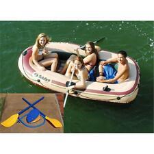 4 Person Inflatable Boat Raft Lakes Water Oar Locks With Oars Heavy Duty PVC