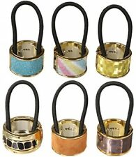 kilofy 6pc Metal Cuff Elastic Band Ponytail Holder Hair Tie Styling Wrap Set