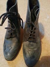 Faith Size 5 Blue Lace Up Ankle Boots Distressed Leather Look