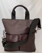 COACH F11241 Charles Foldover Baseball Stitch Leather Tote Bag QB/Oxblood NWT