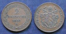 COIN MONNAIE MONETA STATO PONTIFICIO PAPA PIO IX° 2 BAIOCCHI 1853 ZECCA BOLOGNA