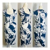 Per Una Bodycon Shift Dress Size 10 Blue/White Floral Print Lined Peplum Smart