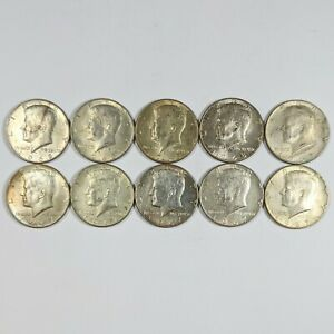Lot of 10 Different Dates Clad Kennedy Half Dollars 40% Silver 186903B