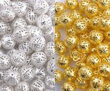 GOLD & SILVER PLATED Metal FILIGREE Round Spacer BEADS - Choose 4,6,8,10,12MM