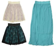 Women Girls Summer Skirt Long Short Mini Lace Asymmetric Pleated Summer Skirt