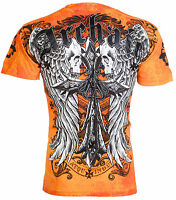 ARCHAIC by AFFLICTION Mens T-Shirt LUSTROUS Skulls Wings Tattoo Biker UFC $40 a