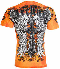 ARCHAIC by AFFLICTION Mens T-Shirt LUSTROUS Skulls Wings Tattoo Biker $40 a NWT