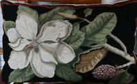 "19"" by 29"" Handmade Embroidered Wool Needlepoint Pillow Magnolia Blooming"