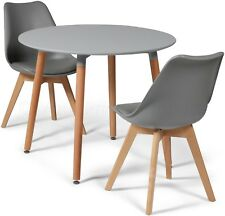 Toulouse Tulip Eiffel Style Dining Set 90cms Round Grey Table & 2 Grey Chairs