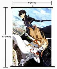 Anime Sword Art Online Kirito Asuna Wall Poster Scroll Home Decor Cosplay 2210