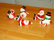 Vintage Tumbling 3 Christmas Santa Claus & 2 Snowmen-Fitz And Floyd Ff Japan