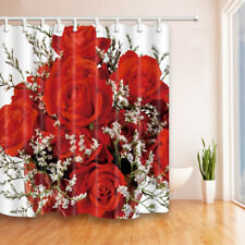 Floral Shower Curtain, Blooming Red Rose Flowers Shower Curtain Set, 71X71''