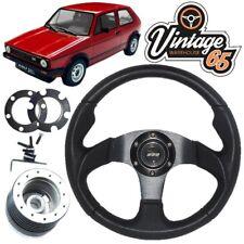 VW GOLF MK1 GTI PELLE NERA MOTORSPORT stile VOLANTE, KIT MOZZO & CLACSON