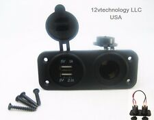 No LED Dual USB 3.1A Charger and Socket Panel Mount Marine 12V Boat Power Outlet