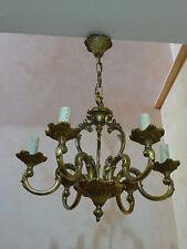 lustre en bronze massif doré à 6 lumières style louis XV diamètre 47 cm
