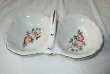 House of Webster (Texas) Divided Candy / Relish Dish, Briar Rose, Gold Trim