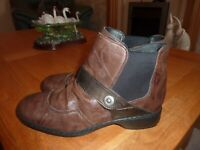 Rieker Brown Distressed Soft Leather Chelsea Ankle Boots Side Zip UK 6.5 EUR 40