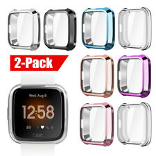 [2 PCS] For Fitbit Versa 2 Silicone TPU Shell Case Screen Protector Frame Cover