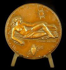 Médaille Allégorie de la mer Méditerranée s Marcel Renard naked woman 71mm Medal