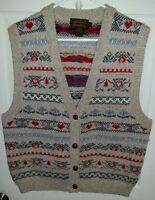 Eddie Bauer womens size large sweatervest. cardigan style sleeveless. tan