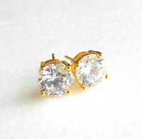 Unisex Men Women Clear CZ Cubic Crystal Stud Earrings 8mm 24K Yellow Gold Plated