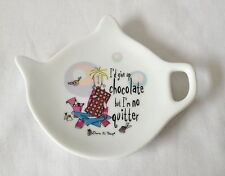 Born To Shop Ceramic Tea Bag Rest - I'd Given Up Chocolate But I'm No Quitter