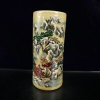 """8.7"""" Collect Chinese Porcelain Famille Rose Hills and Waters Landscape Brush Pot"""