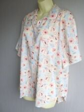 Pale Blue Floral Button Front, Short Sleeve Pyjama Top Size 18  NEW Cyberjammies