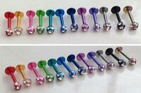 Tragus Helix Bar Cartilage Bar Body Piercing Crystal Belly Eyebrow Bar 16G