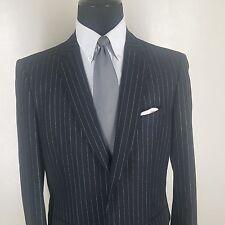JOHN VARVATOS Made In Italy Black Stripe Wool &Cashmere Sport Coat 2 Btn 44 Long