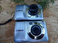 LOT 2 Canon PowerShot A1200 12.1MP Digital Cameras - Silver FOR REPAIR AS IS