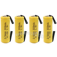 4 pcs 2/3 AAA 2/3AAA Ni-Cd 300mAh 1.2V Rechargeable Battery With Tab Yellow
