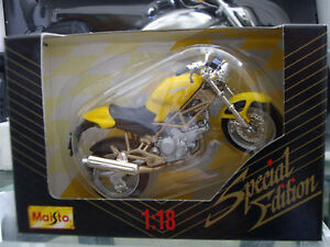 1999 Maisto SPECIAL EDITION 1:18 Scale YELLOW/BLACK DUCATI MOTORCYCLE Die Cast M