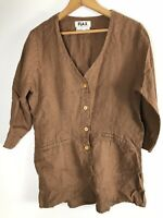 Flax Small Medium Linen Jacket Tunic Button Down Brown Lagenlook Oversize cm