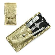 Hans Kniebes Sonnenschein Premium 3-Piece Manicure Set Nappa Leather Case   Gold
