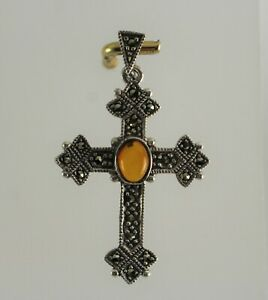 Sterling Silver Marcasite & Amber Colored Cabochon Cross Pendant