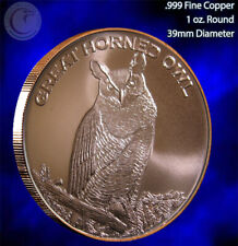 """""""Great Horned Owl"""" 1 oz .999 Copper Round Part of the Wildlife Series"""