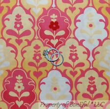 BonEful FABRIC FQ Cotton Moda Yellow White Pink Bright L Flower Damask Dot Heart
