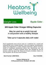 Apple Cider Vinegar 400mg capsules. 200 capsules. Weight Loss Capsules